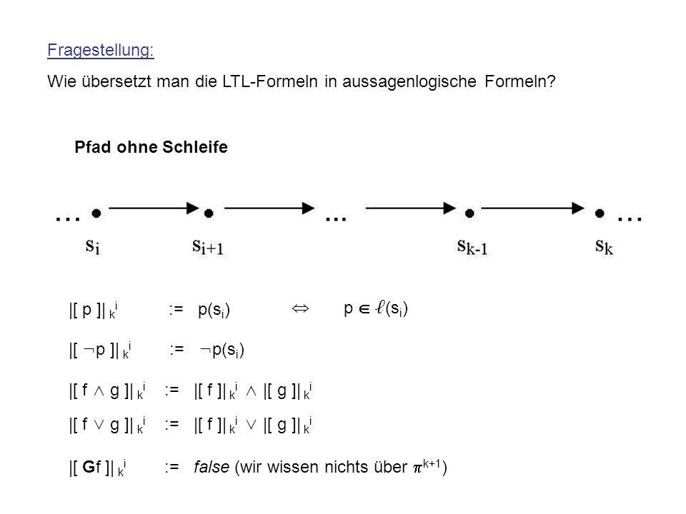Fragestellung: Wie übersetzt man die LTL-Formeln in aussagenlogische Formeln Pfad ohne Schleife. |[ p ]| ki := p(si)